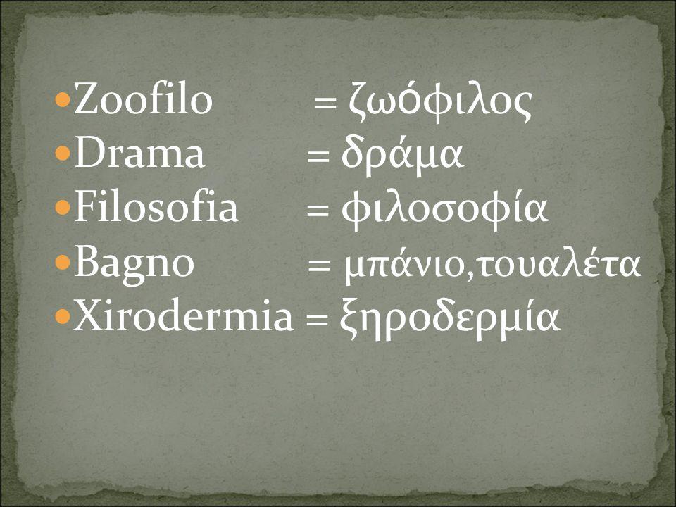 Zoofilo = ζωόφιλος Drama = δράμα. Filosofia = φιλοσοφία. Bagno = μπάνιο,τουαλέτα.