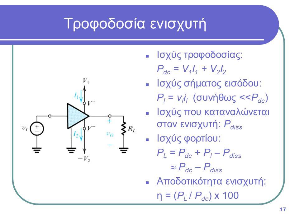 Τροφοδοσία ενισχυτή Ισχύς τροφοδοσίας: Pdc = V1I1 + V2I2