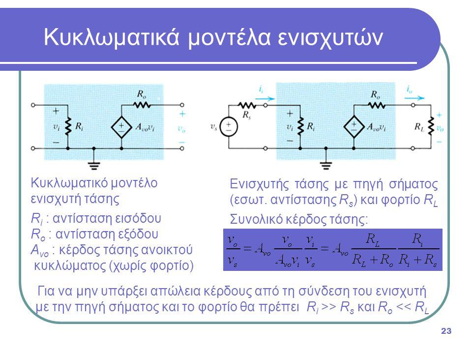 Κυκλωματικά μοντέλα ενισχυτών