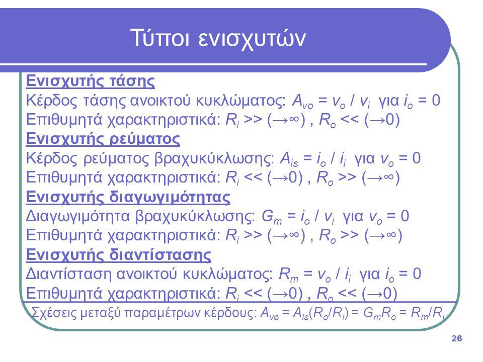 Σχέσεις μεταξύ παραμέτρων κέρδους: Avo = Ais(Ro/Ri) = GmRo = Rm/Ri