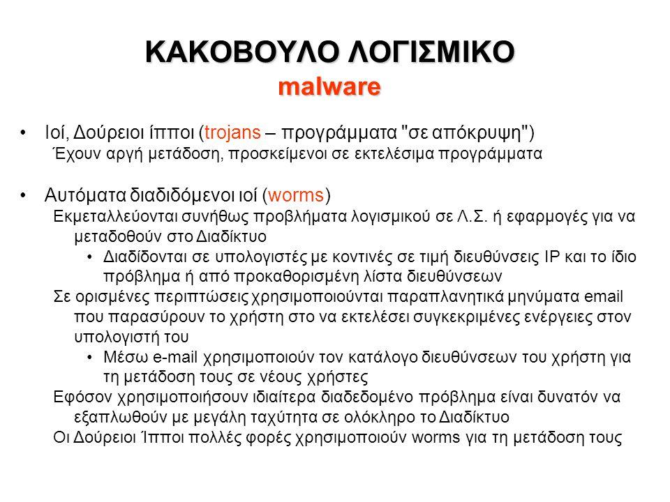 ΚΑΚΟΒΟΥΛΟ ΛΟΓΙΣΜΙΚΟ malware