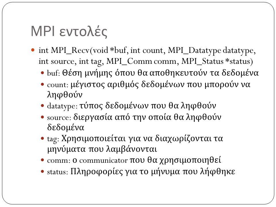 MPI εντολές int MPI_Recv(void *buf, int count, MPI_Datatype datatype, int source, int tag, MPI_Comm comm, MPI_Status *status)