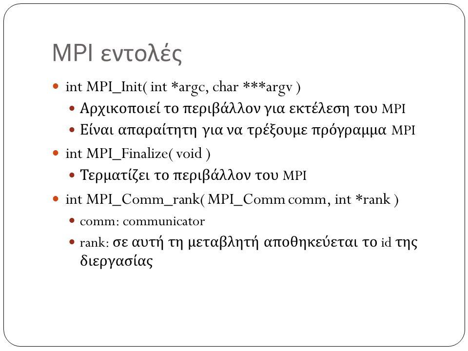 MPI εντολές int MPI_Init( int *argc, char ***argv )