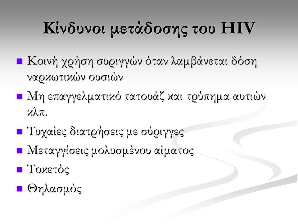Κίνδυνοι μετάδοσης του HIV