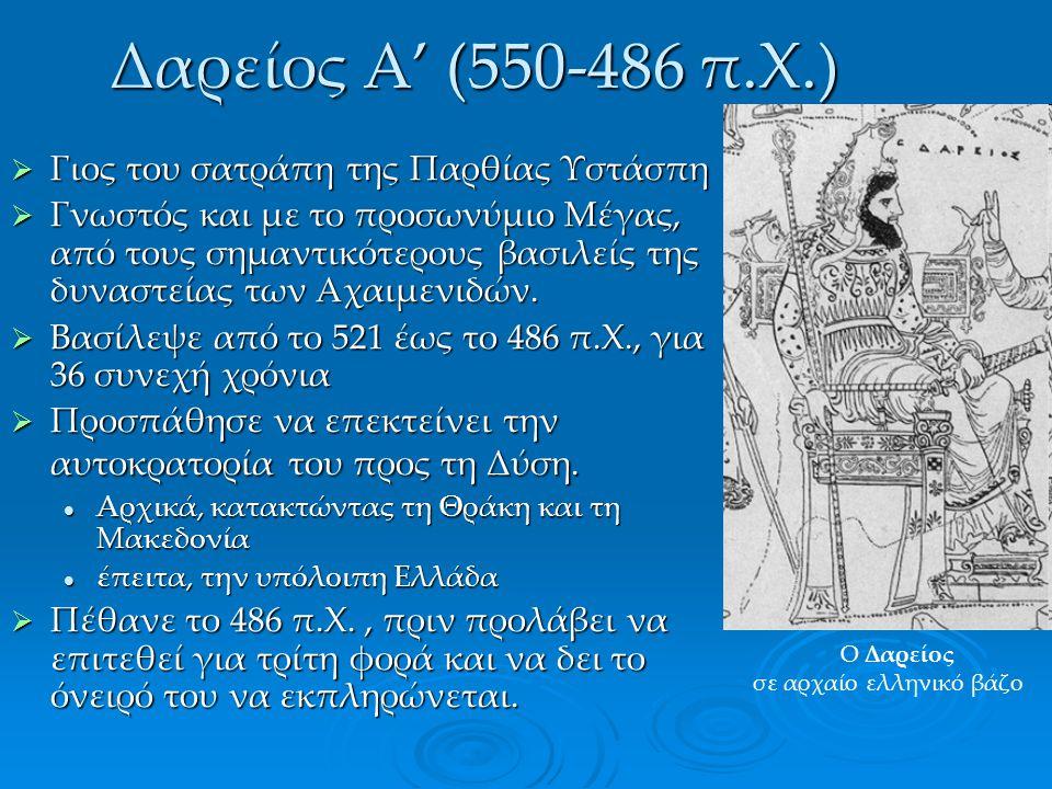 Δαρείος Α' (550-486 π.Χ.) Γιος του σατράπη της Παρθίας Υστάσπη