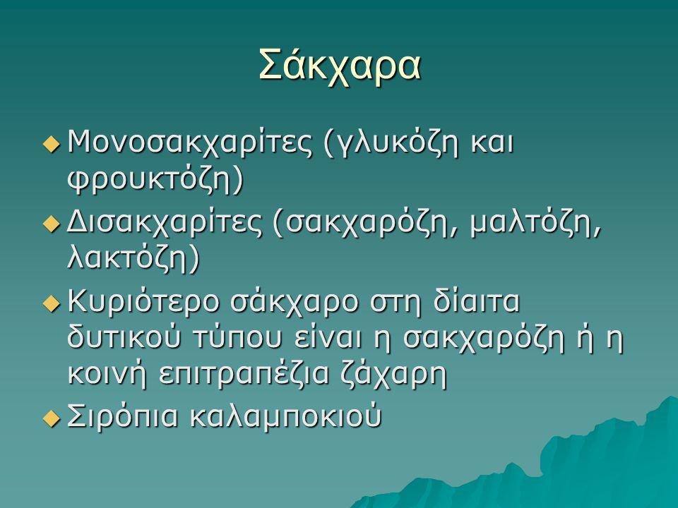 Σάκχαρα Μονοσακχαρίτες (γλυκόζη και φρουκτόζη)