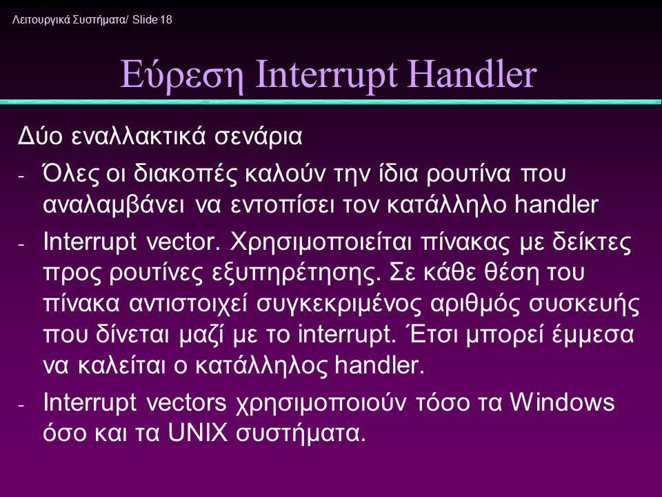 Εύρεση Interrupt Handler