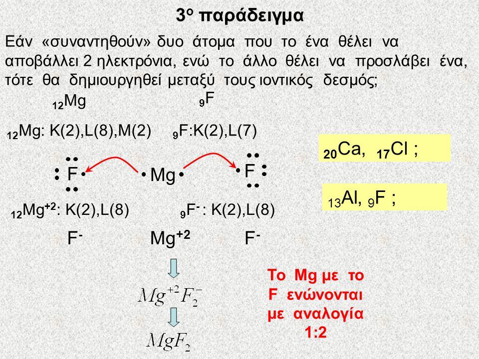 Το Mg με το F ενώνονται με αναλογία 1:2