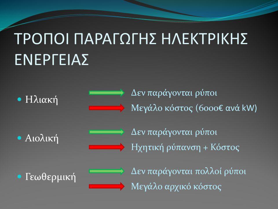 ΤΡΟΠΟΙ ΠΑΡΑΓΩΓΗΣ ΗΛΕΚΤΡΙΚΗΣ ΕΝΕΡΓΕΙΑΣ