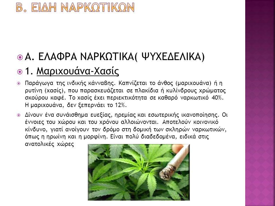 Β. ειδη ναρκωτικων Α. ΕΛΑΦΡΑ ΝΑΡΚΩΤΙΚΑ( ΨΥΧΕΔΕΛΙΚΑ)