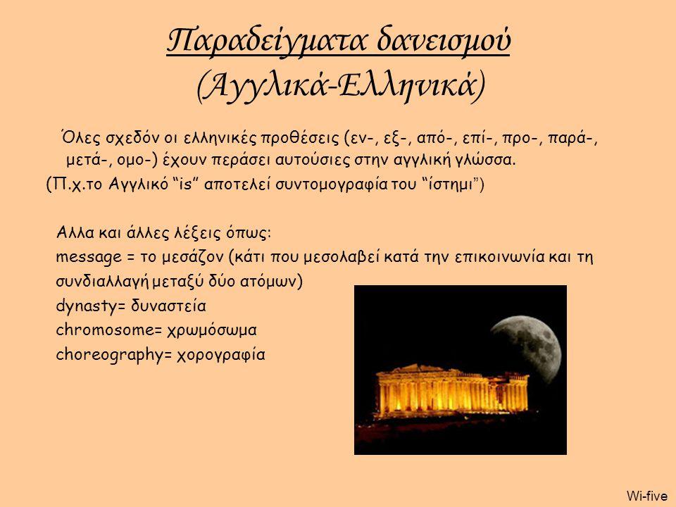 Παραδείγματα δανεισμού (Αγγλικά-Ελληνικά)