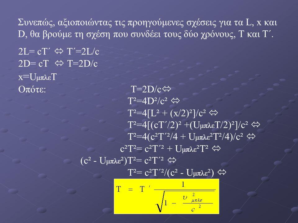 Συνεπώς, αξιοποιώντας τις προηγούμενες σχέσεις για τα L, x και D, θα βρούμε τη σχέση που συνδέει τους δύο χρόνους, T και T΄.