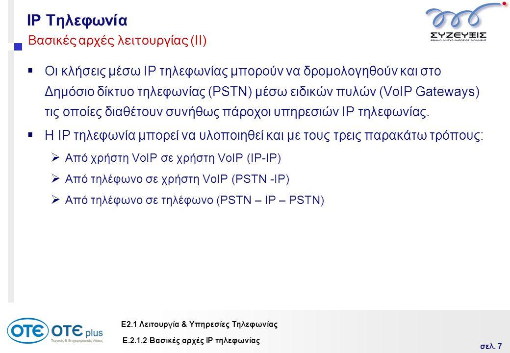 IP Τηλεφωνία Βασικές αρχές λειτουργίας (ΙΙ)
