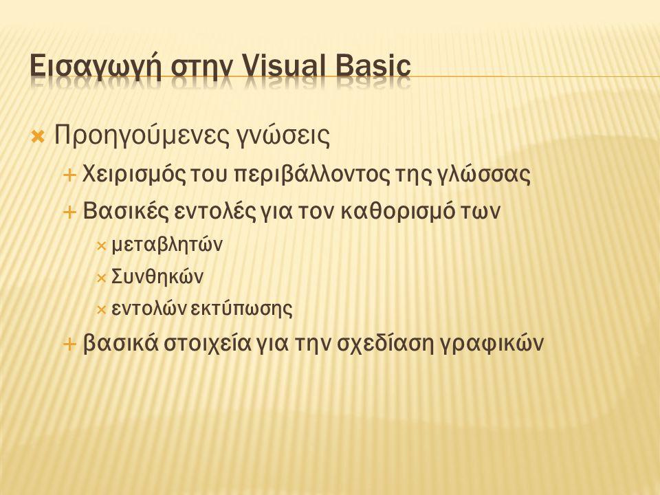 Εισαγωγή στην Visual Basic