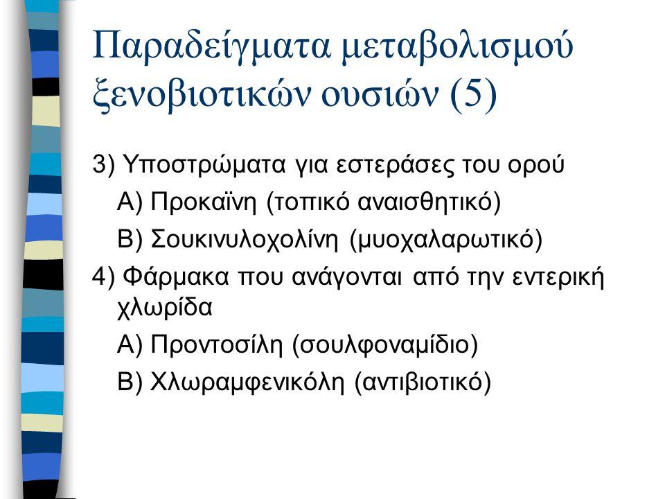 Παραδείγματα μεταβολισμού ξενοβιοτικών ουσιών (5)