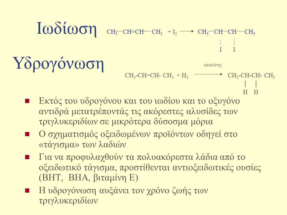 Ιωδίωση CH3 CH=CH CH3 + I2 CH3 CH CH CH3 | | I I