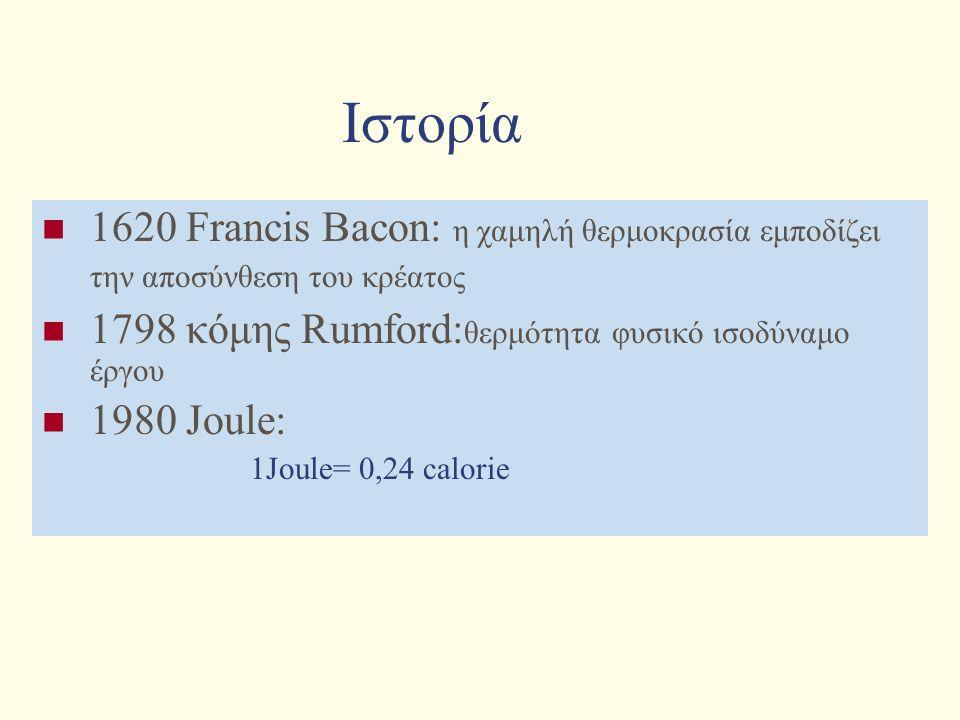 Ιστορία 1620 Francis Bacon: η χαμηλή θερμοκρασία εμποδίζει την αποσύνθεση του κρέατος. 1798 κόμης Rumford:θερμότητα φυσικό ισοδύναμο έργου.