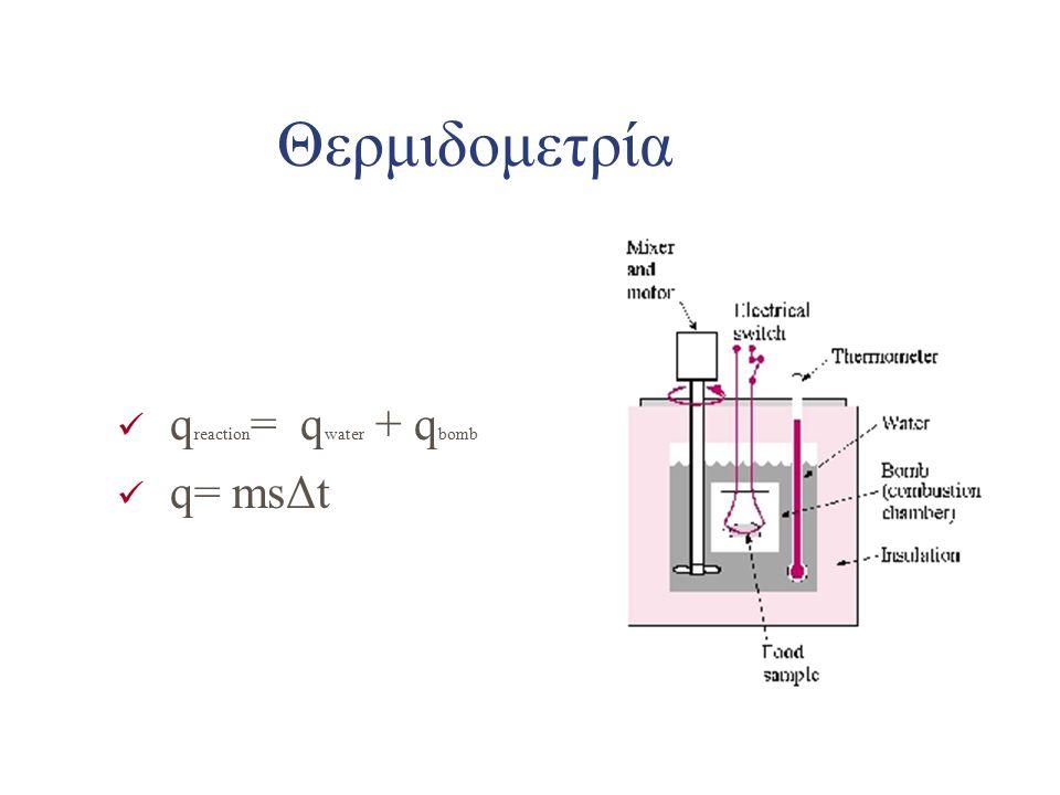 Θερμιδομετρία qreaction= qwater + qbomb q= msΔt