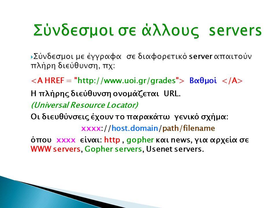 Σύνδεσμοι σε άλλους servers