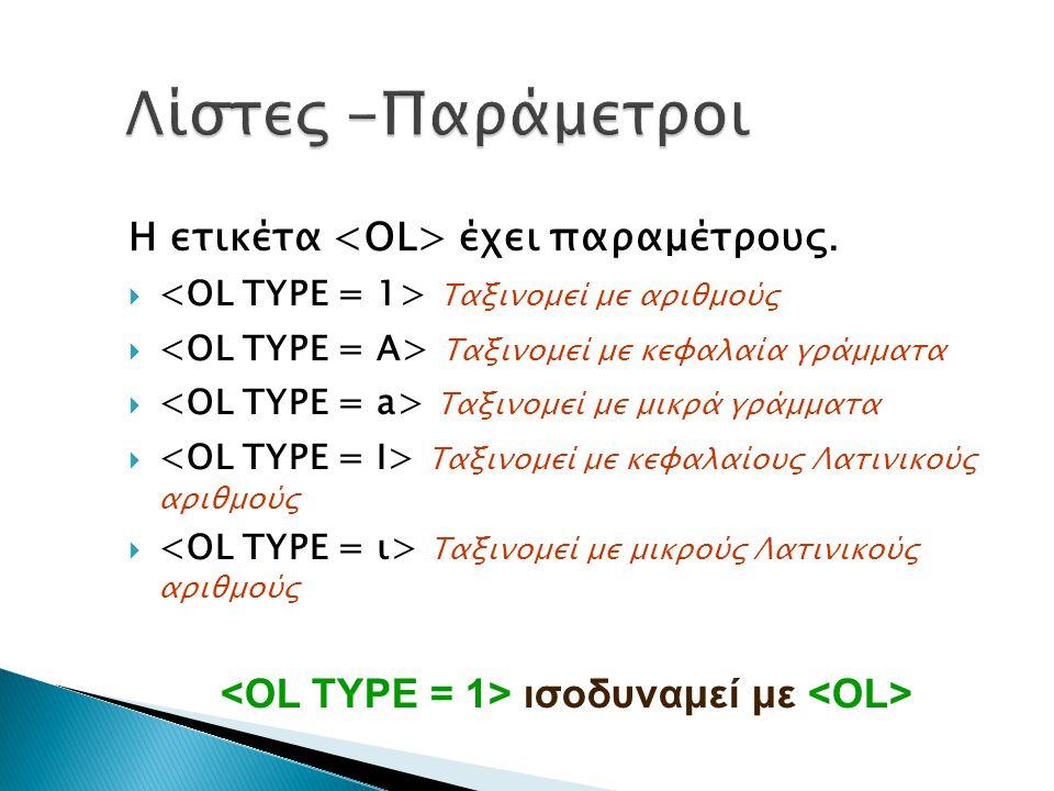 <OL TYPE = 1> ισοδυναμεί με <OL>