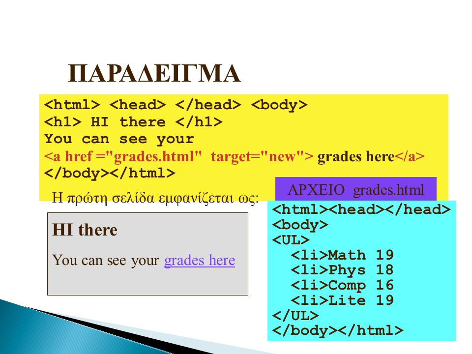 ΠΑΡΑΔΕΙΓΜΑ <html> <head> </head> <body> <h1> HI there </h1> You can see your. <a href = grades.html target= new > grades here</a>