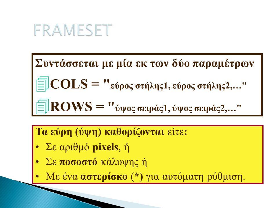 FRAMESET COLS = εύρος στήλης1, εύρος στήλης2,…