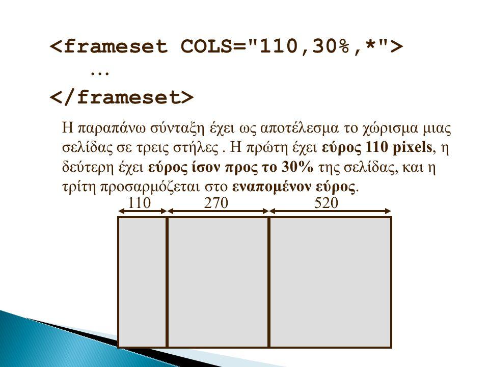 <frameset COLS= 110,30%,* >  </frameset>