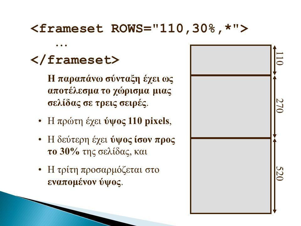 <frameset ROWS= 110,30%,* >  </frameset>