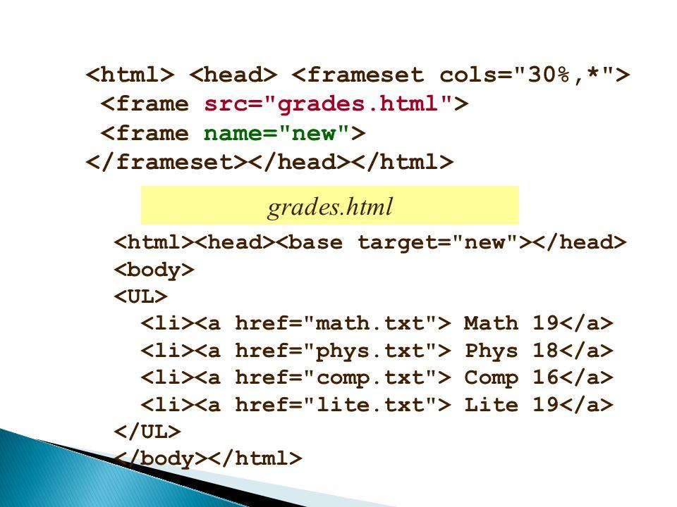 grades.html <html> <head> <frameset cols= 30%,* >