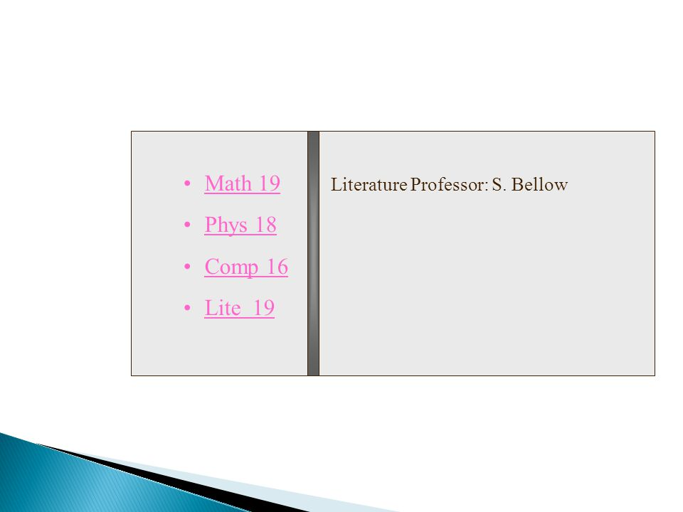 Math 19 Phys 18 Comp 16 Lite 19 Literature Professor: S. Bellow