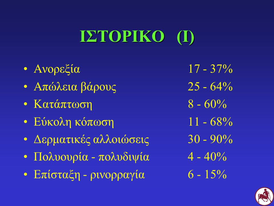 ΙΣΤΟΡΙΚΟ (Ι) Ανορεξία 17 - 37% Απώλεια βάρους 25 - 64%