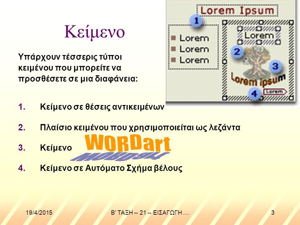 Κείμενο WORDart Υπάρχουν τέσσερις τύποι κειμένου που μπορείτε να