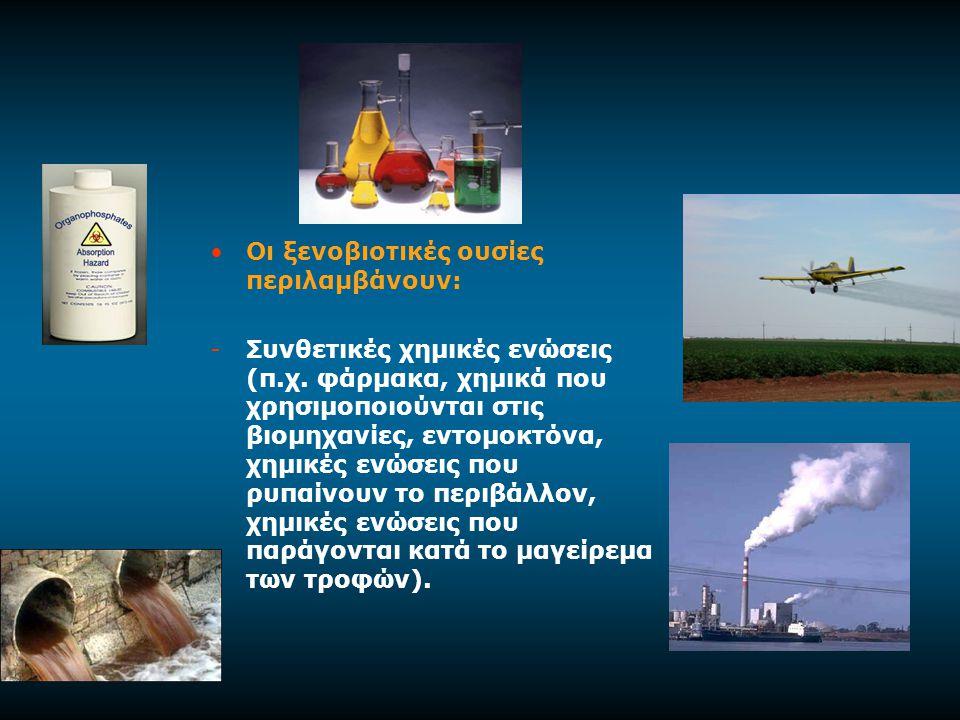 Οι ξενοβιοτικές ουσίες περιλαμβάνουν: