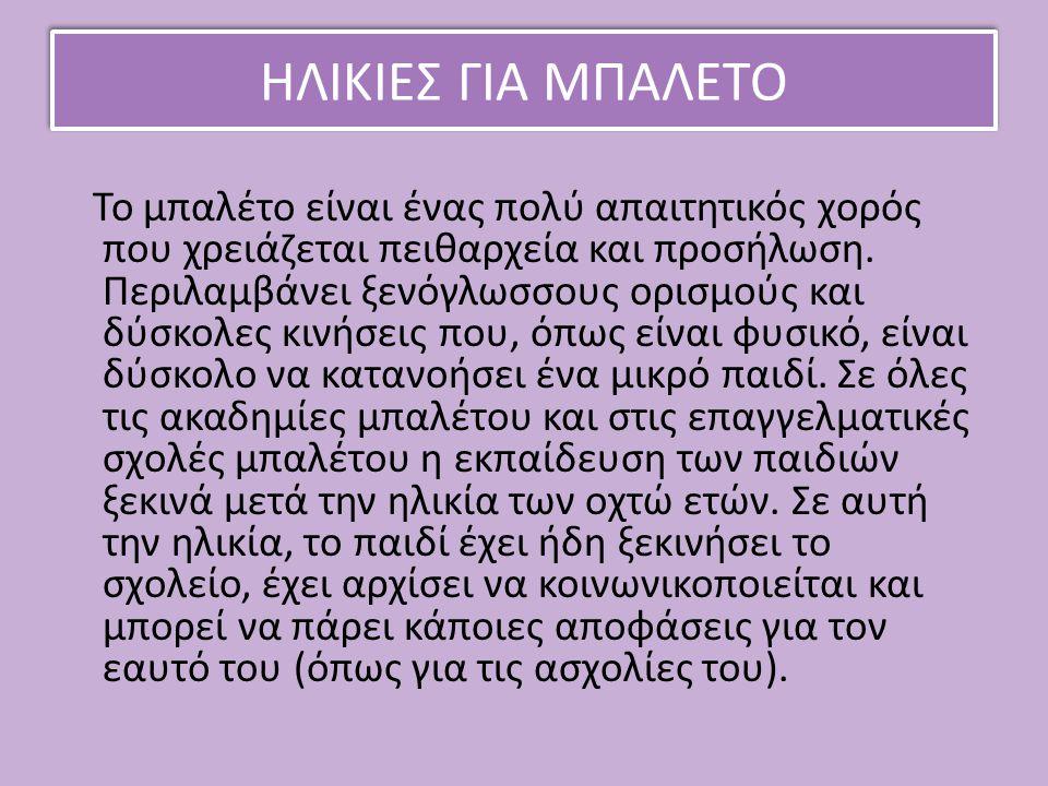 ΗΛΙΚΙΕΣ ΓΙΑ ΜΠΑΛΕΤΟ
