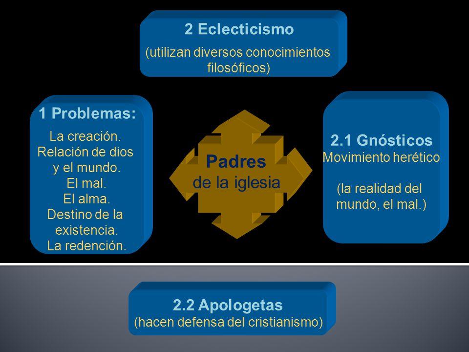 Padres de la iglesia 2 Eclecticismo 1 Problemas: 2.1 Gnósticos