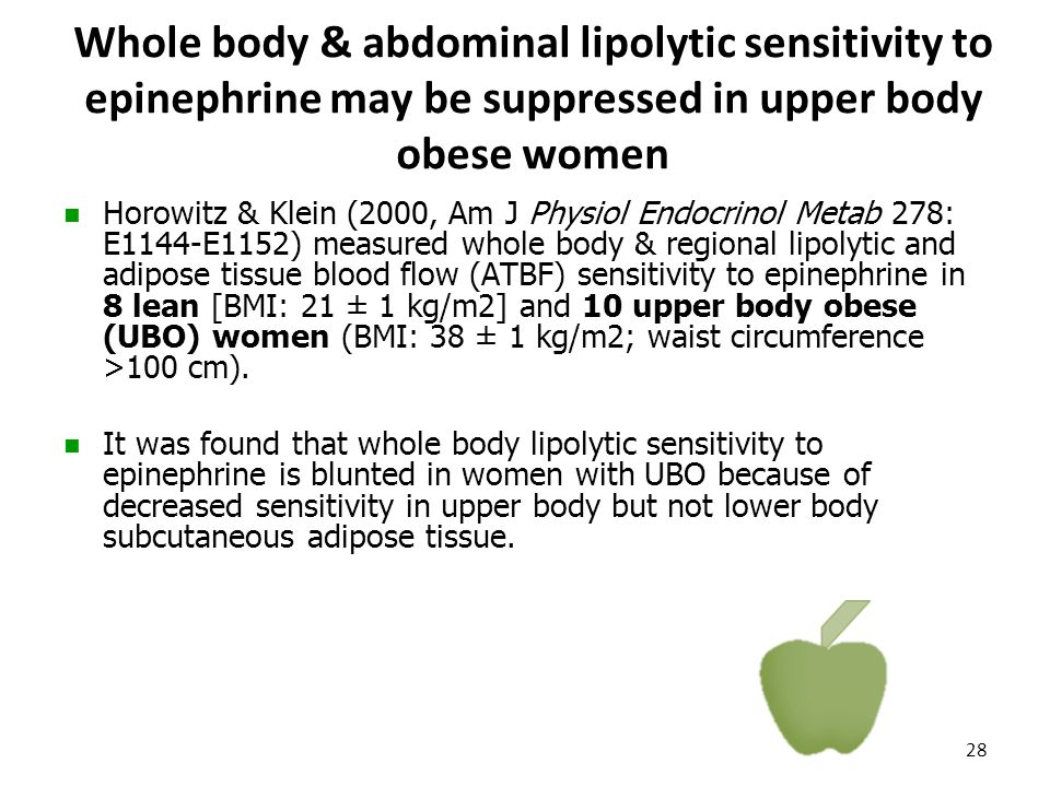 Whole body & abdominal lipolytic sensitivity to epinephrine may be suppressed in upper body obese women