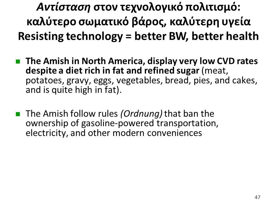 Αντίσταση στον τεχνολογικό πολιτισμό: καλύτερο σωματικό βάρος, καλύτερη υγεία Resisting technology = better BW, better health