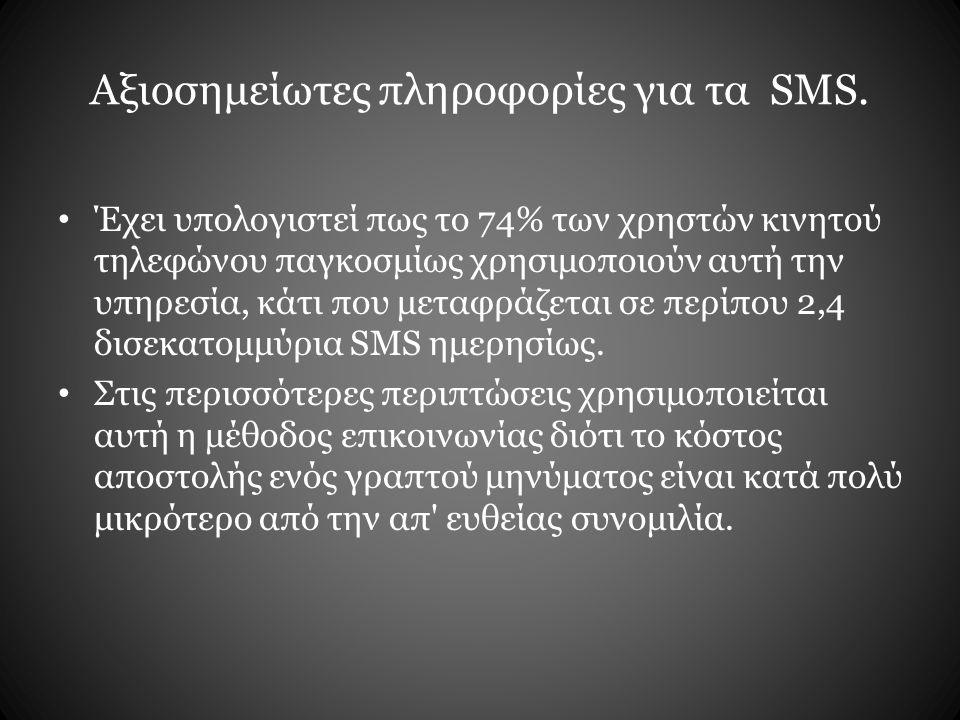Αξιοσημείωτες πληροφορίες για τα SMS.