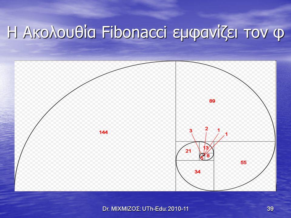 Η Ακολουθία Fibonacci εμφανίζει τον φ