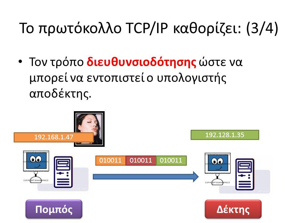 Το πρωτόκολλο TCP/IP καθορίζει: (3/4)