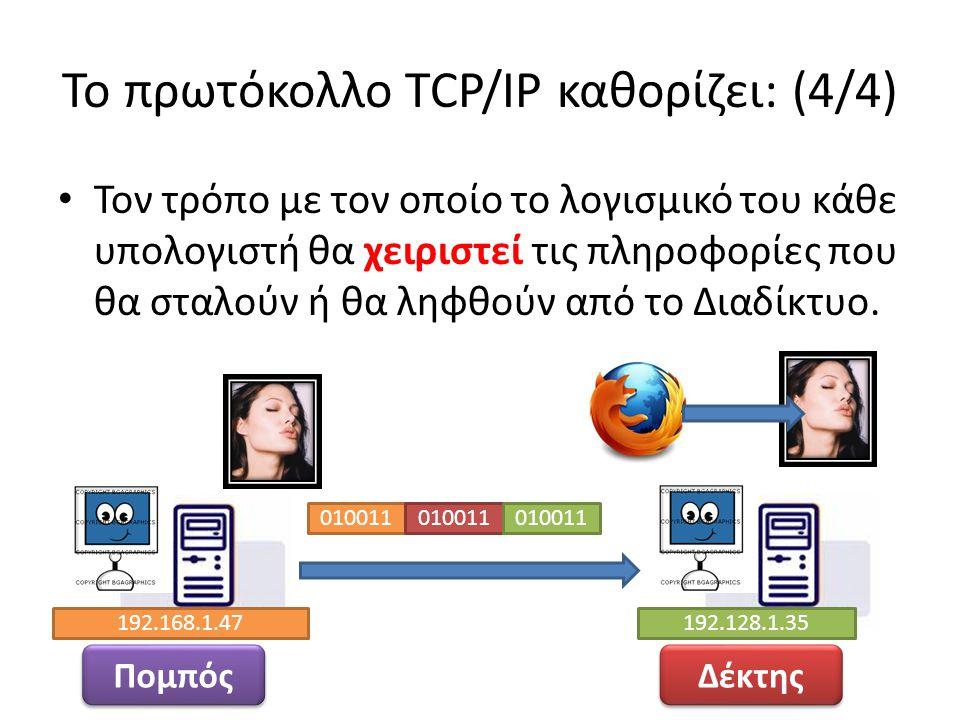 Το πρωτόκολλο TCP/IP καθορίζει: (4/4)