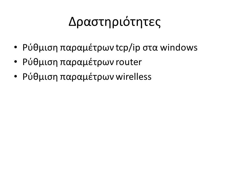 Δραστηριότητες Ρύθμιση παραμέτρων tcp/ip στα windows
