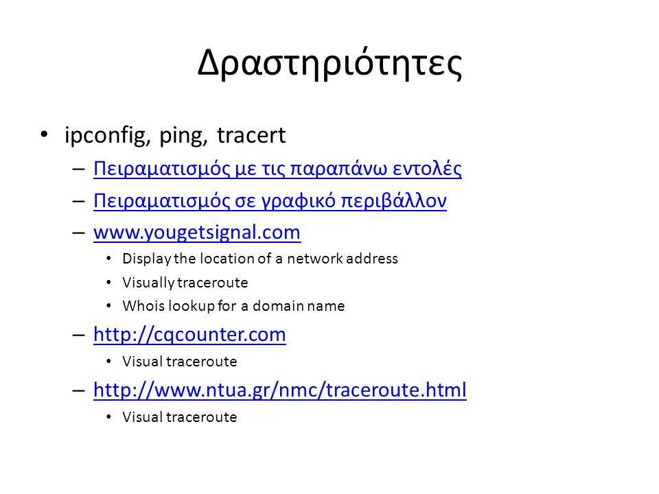 Δραστηριότητες ipconfig, ping, tracert
