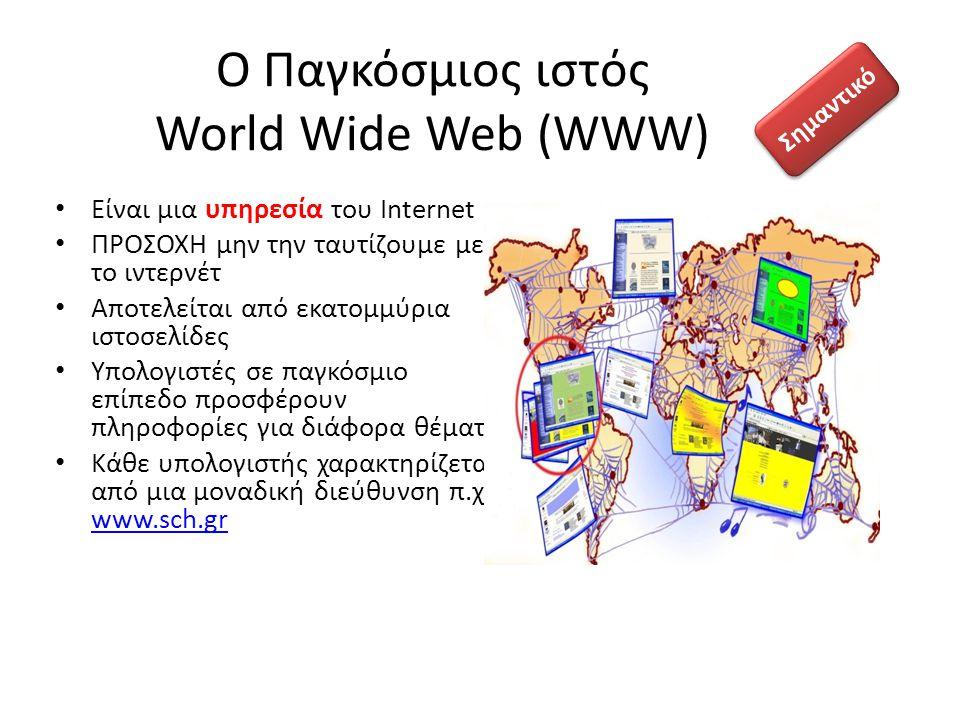 Ο Παγκόσμιος ιστός World Wide Web (WWW)