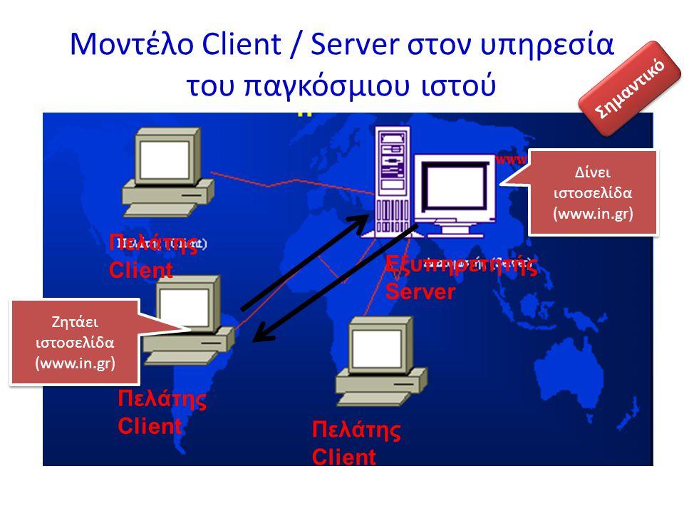 Μοντέλο Client / Server στον υπηρεσία του παγκόσμιου ιστού