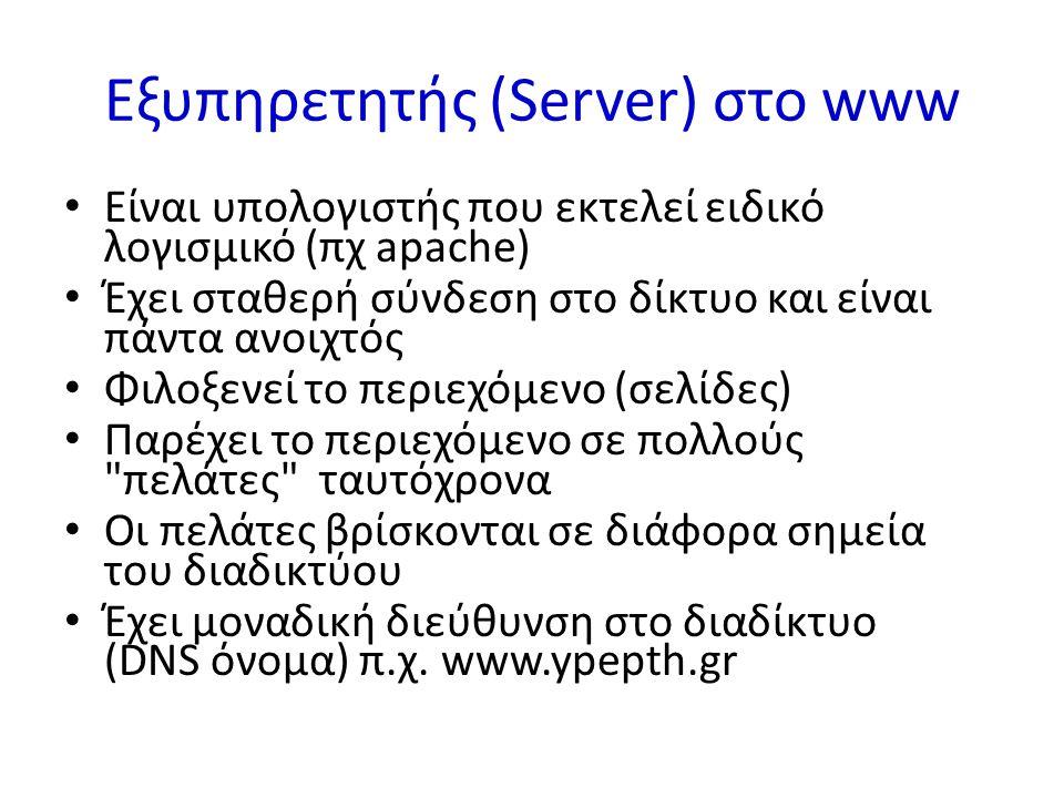 Εξυπηρετητής (Server) στο www