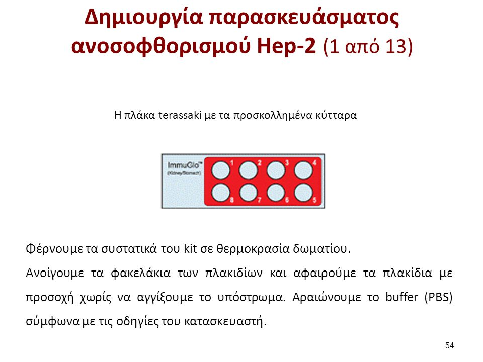 Δημιουργία παρασκευάσματος ανοσοφθορισμού Hep-2 (2 από 13)