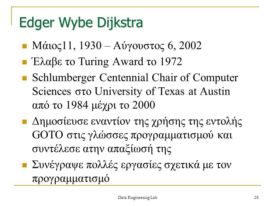 Edger Wybe Dijkstra Μάιος11, 1930 – Αύγουστος 6, 2002