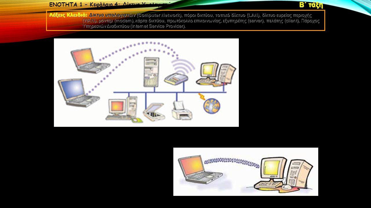 Β΄ τάξη ΕΝΟΤΗΤΑ 1 – Κεφάλαιο 4: Δίκτυα Υπολογιστών
