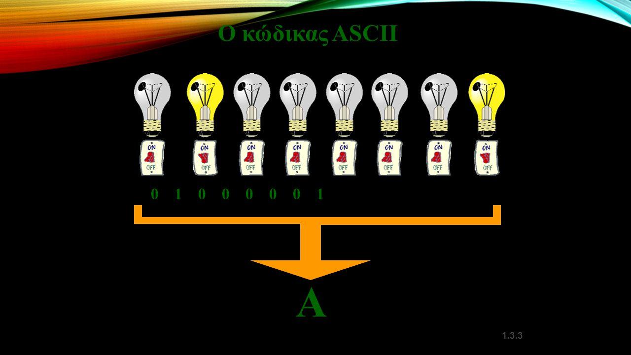 Ο κώδικας ASCII 0 1 0 0 0 0 0 1 Α 1.3.3